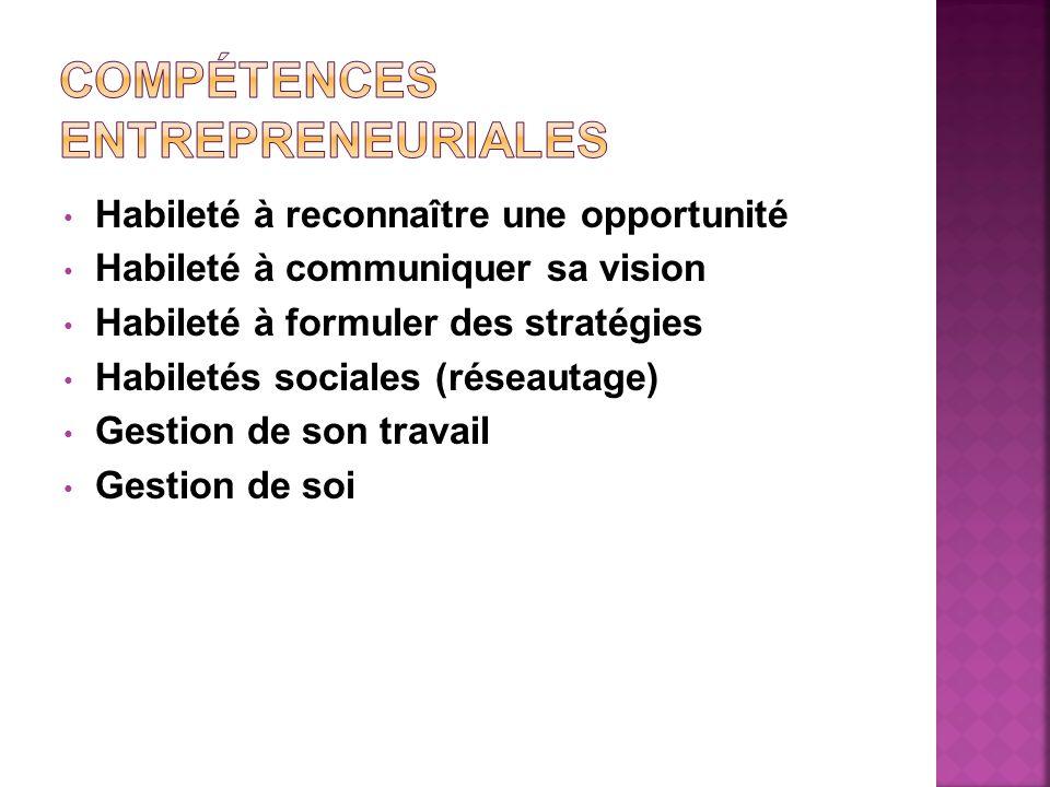 Habileté à reconnaître une opportunité Habileté à communiquer sa vision Habileté à formuler des stratégies Habiletés sociales (réseautage) Gestion de