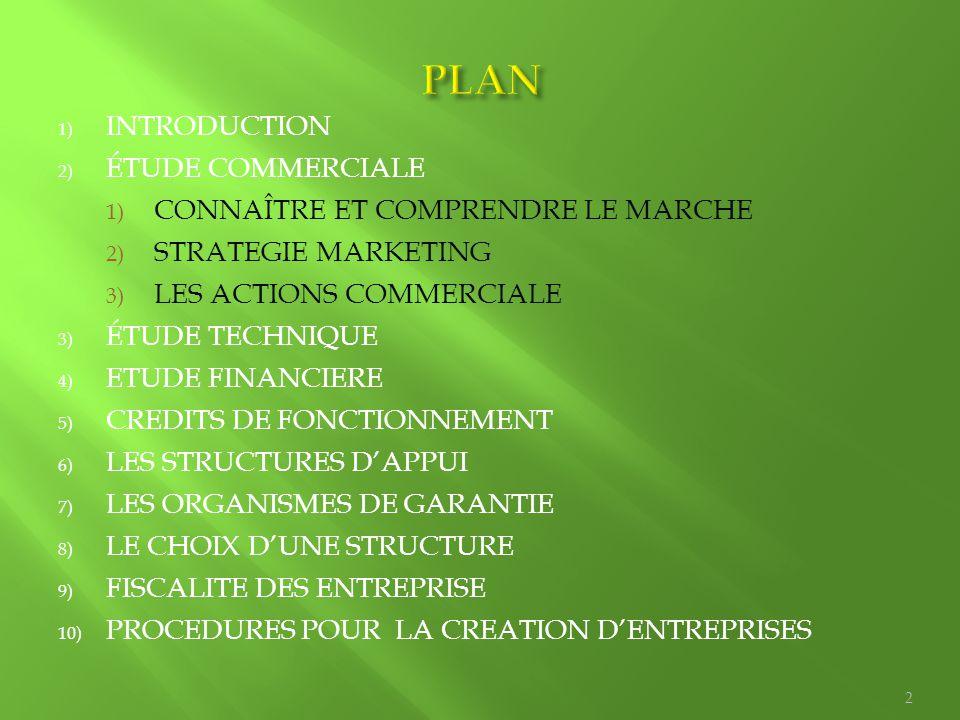 1) INTRODUCTION 2) ÉTUDE COMMERCIALE 1) CONNAÎTRE ET COMPRENDRE LE MARCHE 2) STRATEGIE MARKETING 3) LES ACTIONS COMMERCIALE 3) ÉTUDE TECHNIQUE 4) ETUD