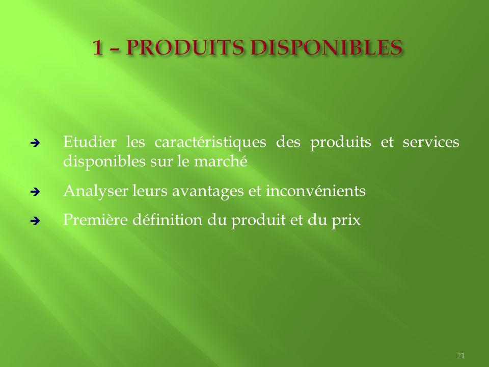  Etudier les caractéristiques des produits et services disponibles sur le marché  Analyser leurs avantages et inconvénients  Première définition du