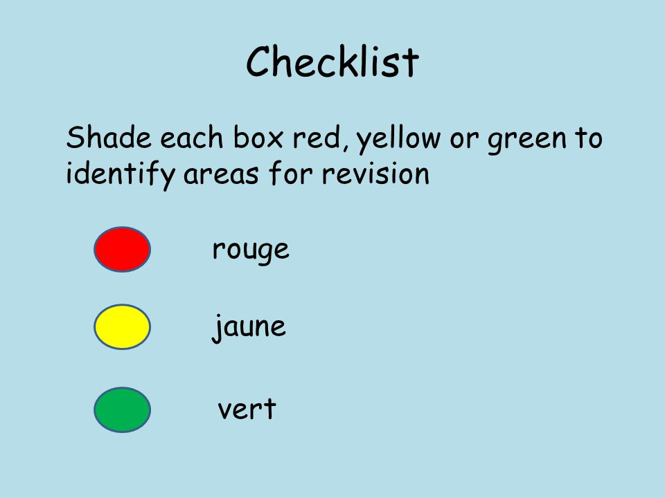 Checklist Shade each box red, yellow or green to identify areas for revision rouge jaune vert