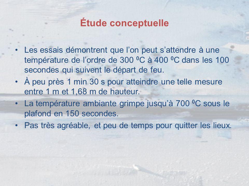 Étude conceptuelle Les essais démontrent que l'on peut s'attendre à une température de l'ordre de 300 0 C à 400 0 C dans les 100 secondes qui suivent