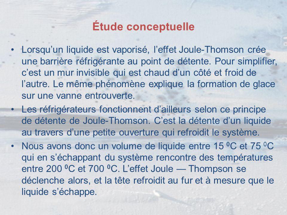 Étude conceptuelle Lorsqu'un liquide est vaporisé, l'effet Joule-Thomson crée une barrière réfrigérante au point de détente. Pour simplifier, c'est un