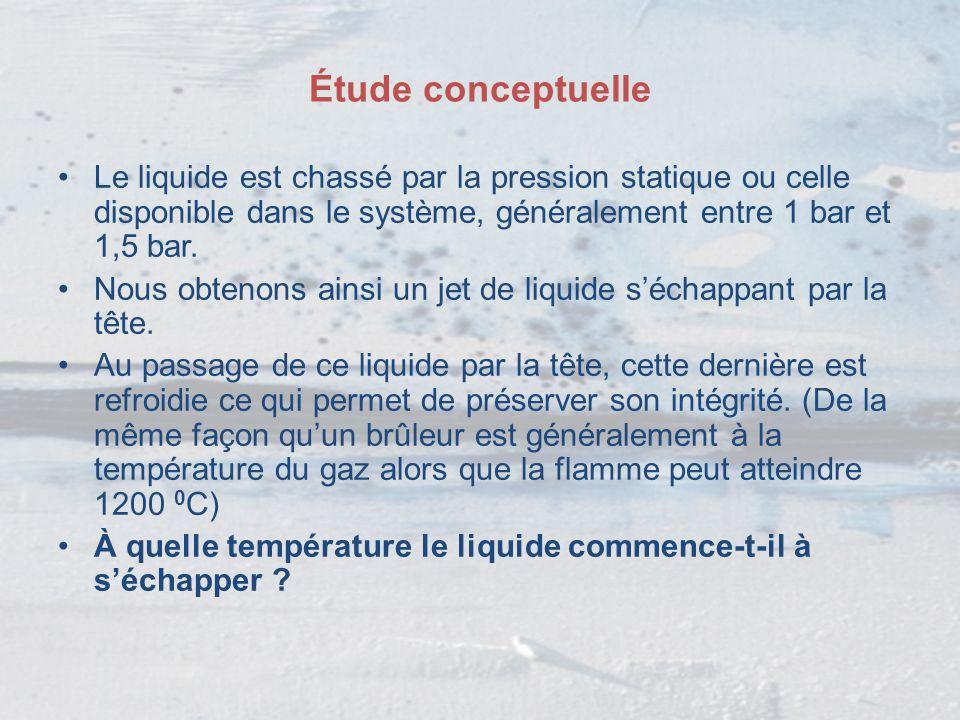 Étude conceptuelle Le liquide est chassé par la pression statique ou celle disponible dans le système, généralement entre 1 bar et 1,5 bar. Nous obten