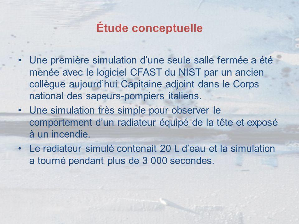 Étude conceptuelle Une première simulation d'une seule salle fermée a été menée avec le logiciel CFAST du NIST par un ancien collègue aujourd'hui Capi
