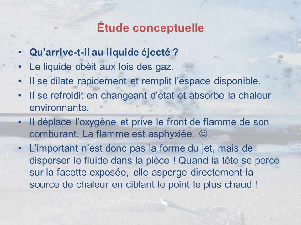 Étude conceptuelle Qu'arrive-t-il au liquide éjecté ? Le liquide obéit aux lois des gaz. Il se dilate rapidement et remplit l'espace disponible. Il se