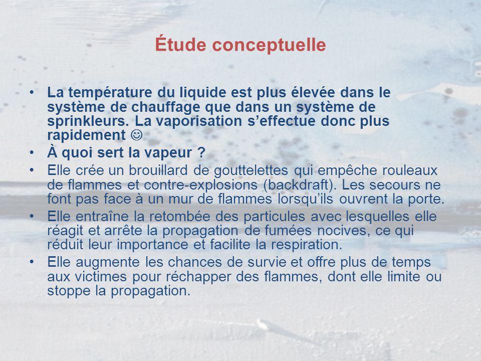 Étude conceptuelle La température du liquide est plus élevée dans le système de chauffage que dans un système de sprinkleurs. La vaporisation s'effect