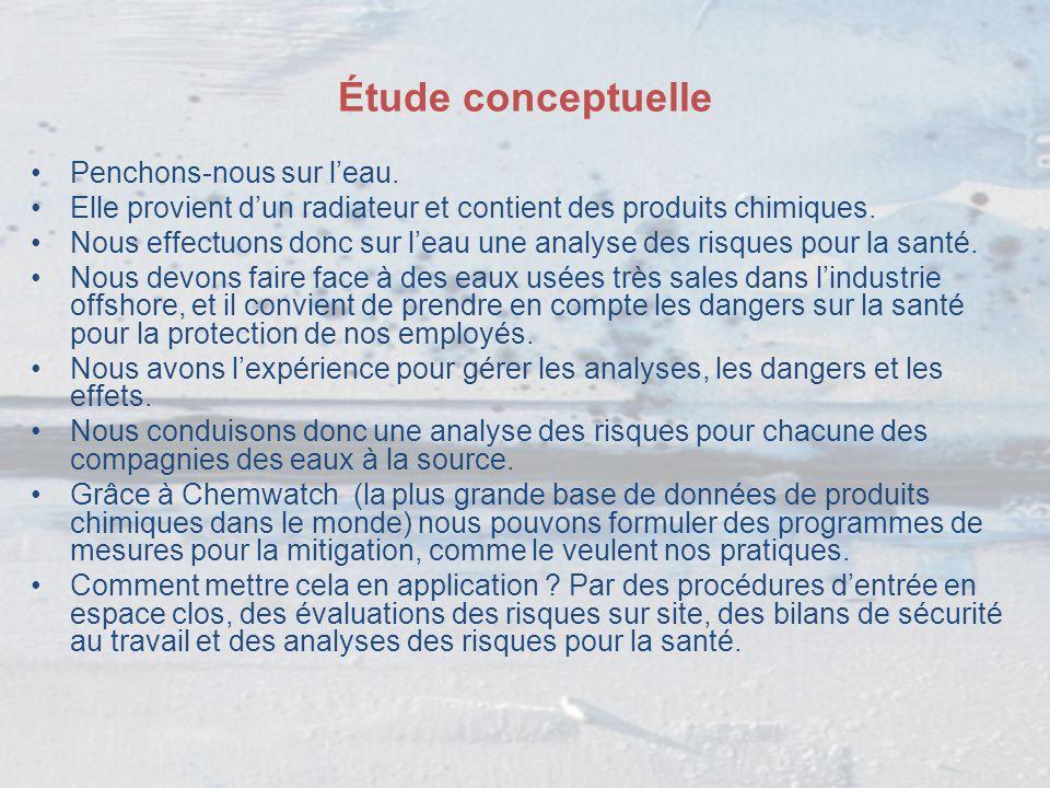 Étude conceptuelle Penchons-nous sur l'eau. Elle provient d'un radiateur et contient des produits chimiques. Nous effectuons donc sur l'eau une analys