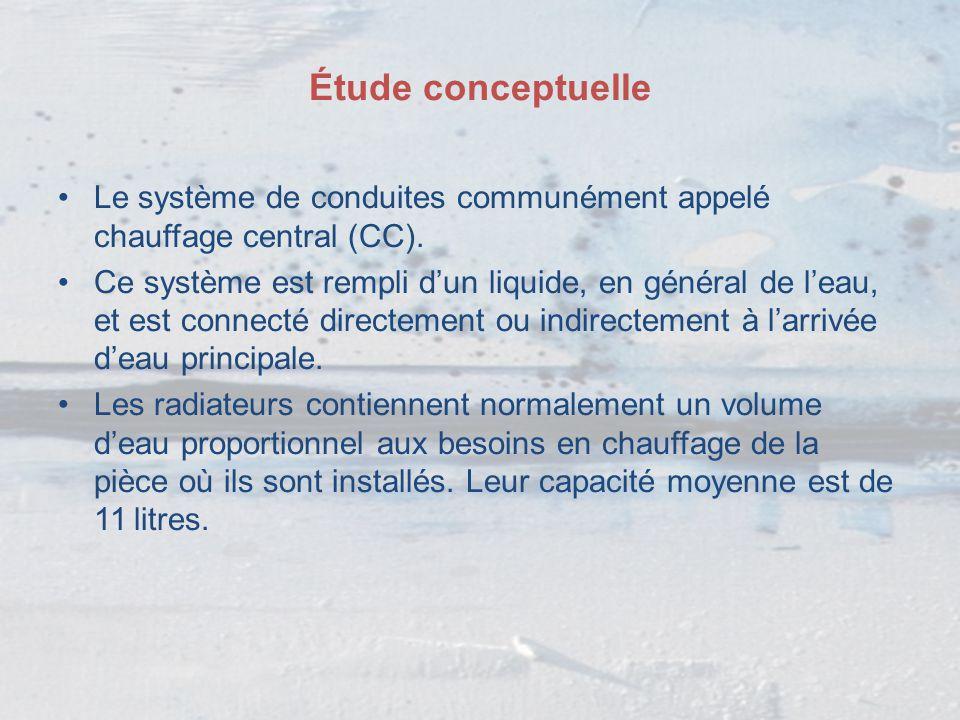 Le système de conduites communément appelé chauffage central (CC). Ce système est rempli d'un liquide, en général de l'eau, et est connecté directemen