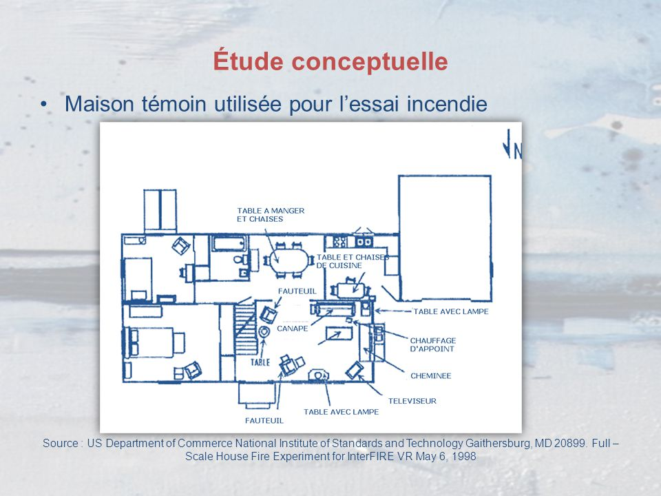 Étude conceptuelle Maison témoin utilisée pour l'essai incendie Source : US Department of Commerce National Institute of Standards and Technology Gait