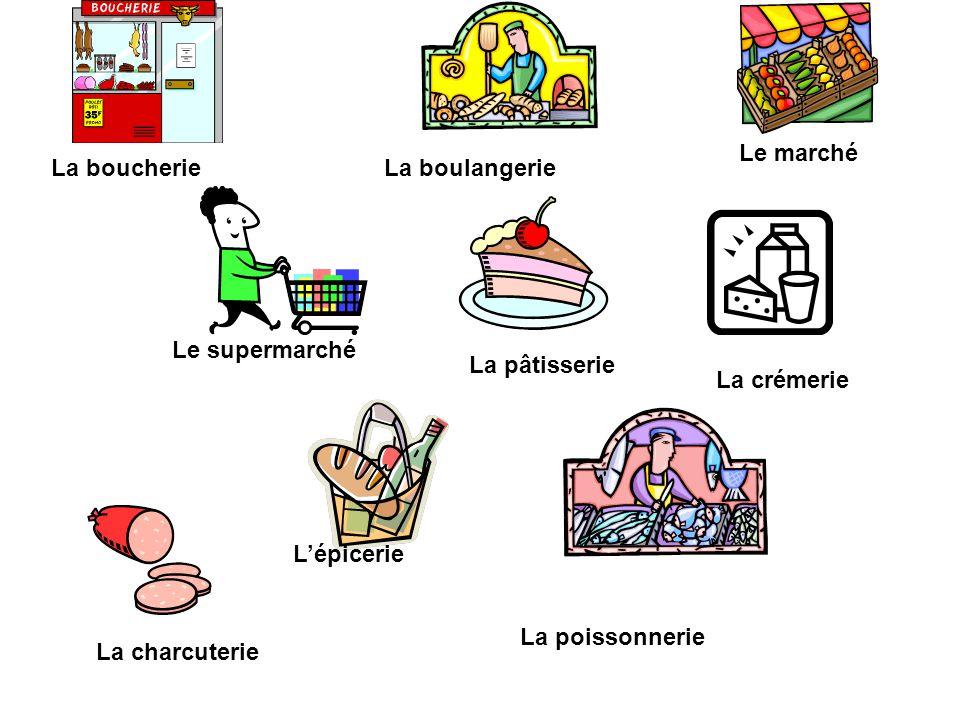 La boucherie La poissonnerie Le marché Le supermarché La boulangerie La crémerie L'épicerie La charcuterie La pâtisserie