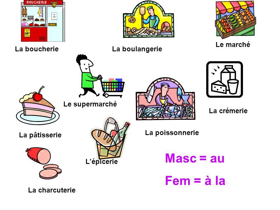 La boucherie La poissonnerie Le marché Le supermarché La boulangerie La crémerie L'épicerie La charcuterie Masc = au Fem = à la La pâtisserie