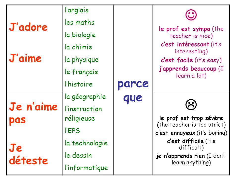  le prof est trop sévère (the teacher is too strict) c'est ennuyeux (it's boring) c'est difficile (it's difficult) je n'apprends rien (I don't learn