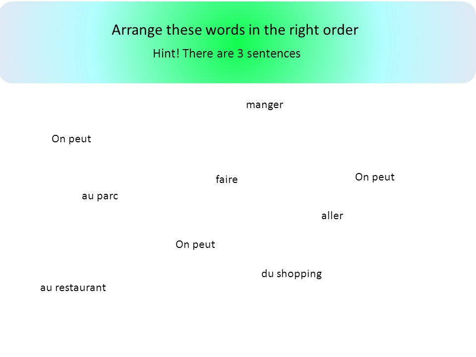 Arrange these words in the right order On peut faire aller manger au restaurant du shopping au parc Hint! There are 3 sentences