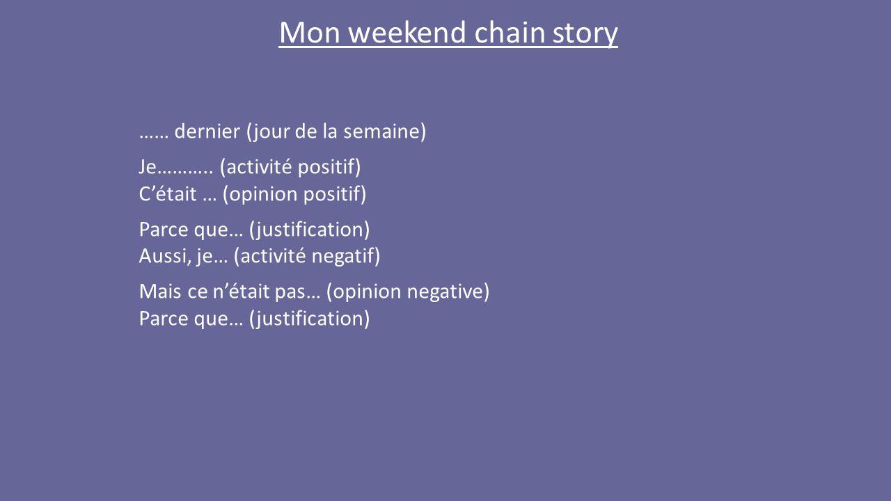 Mon weekend chain story …… dernier (jour de la semaine) Je………..