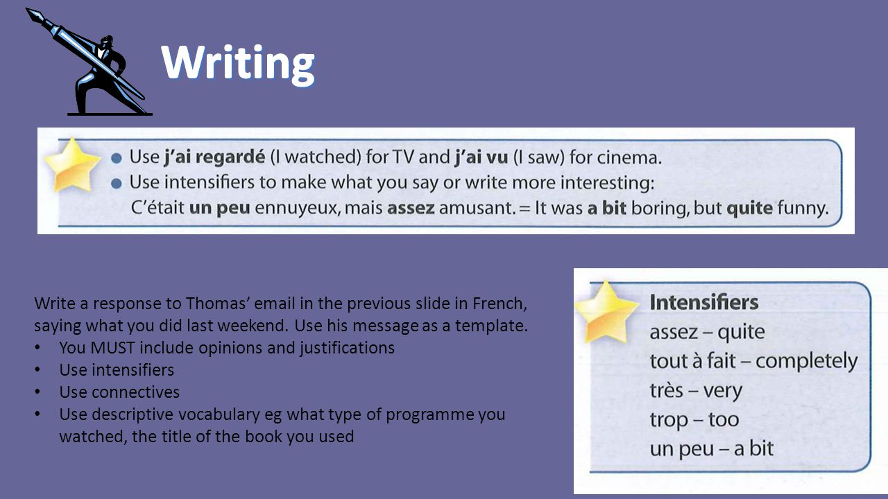 Write a response to Thomas' email in the previous slide in French, saying what you did last weekend. Use his message as a template. You MUST include o