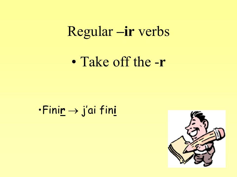Regular –re verbs Take off the –re and replace it with –u Répondre  j'ai répondu Lire: J'ai lu