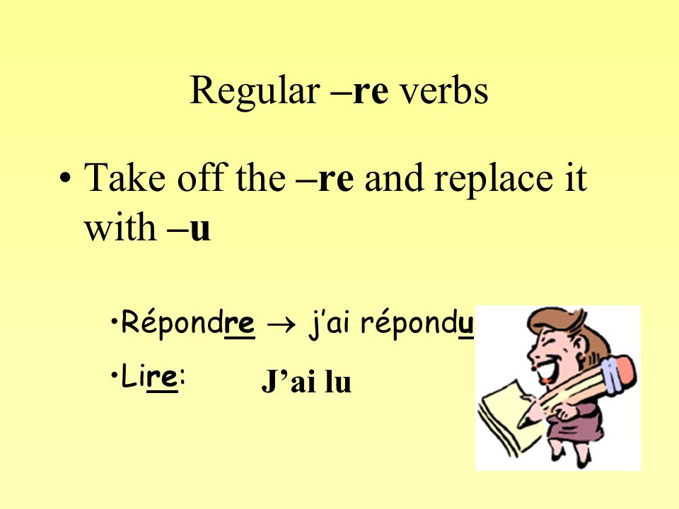 Using these rules, what would the past participle of these verbs be.