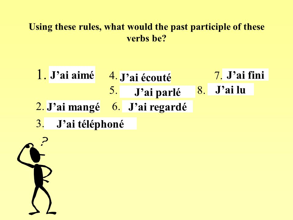 Using these rules, what would the past participle of these verbs be? 1. aimer 4. écouter 7. finir 5. parler 8. lire 2. manger 6. regarder 3.téléphoner
