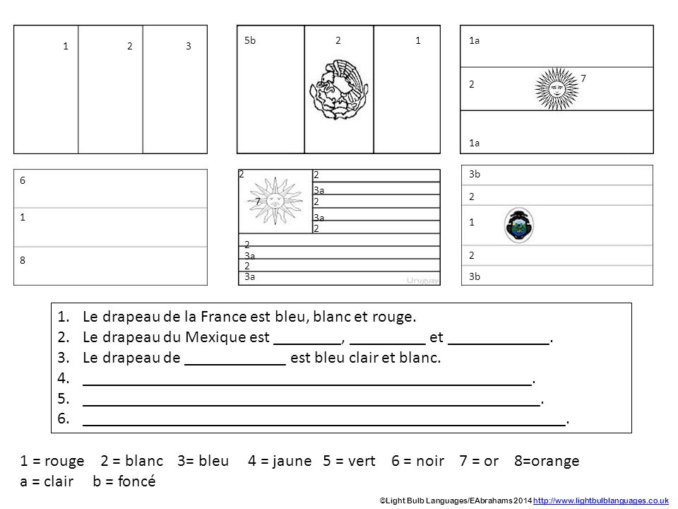 1 = rouge 2 = blanc 3= bleu 4 = jaune 5 = vert 6 = noir 7 = or 8=orange a = clair b = foncé 123 5b11a 2 2 7 6 1 8 2 2 2 2 3a 2 2 7 3b 2 2 1 1.Le drape