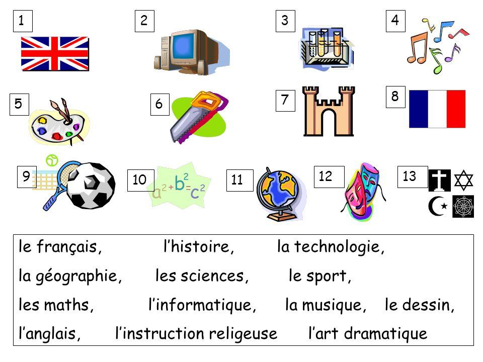 le français,l'histoire, la technologie, la géographie, les sciences, le sport, les maths, l'informatique, la musique, le dessin, l'anglais, l'instruct