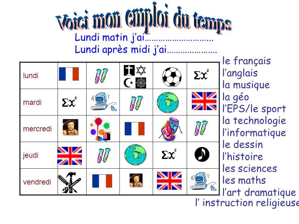 lundi mardi mercredi jeudi vendredi Lundi matin j'ai………………………... Lundi après midi j'ai…………………. le français l'anglais la musique la géo l'EPS/le sport