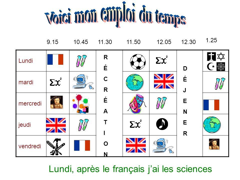Lundi mardi mercredi jeudi vendredi 9.1510.4511.3011.5012.0512.30 1.25 RÉCRÉATIONRÉCRÉATION DÉJENERDÉJENER Lundi, après le français j'ai les sciences