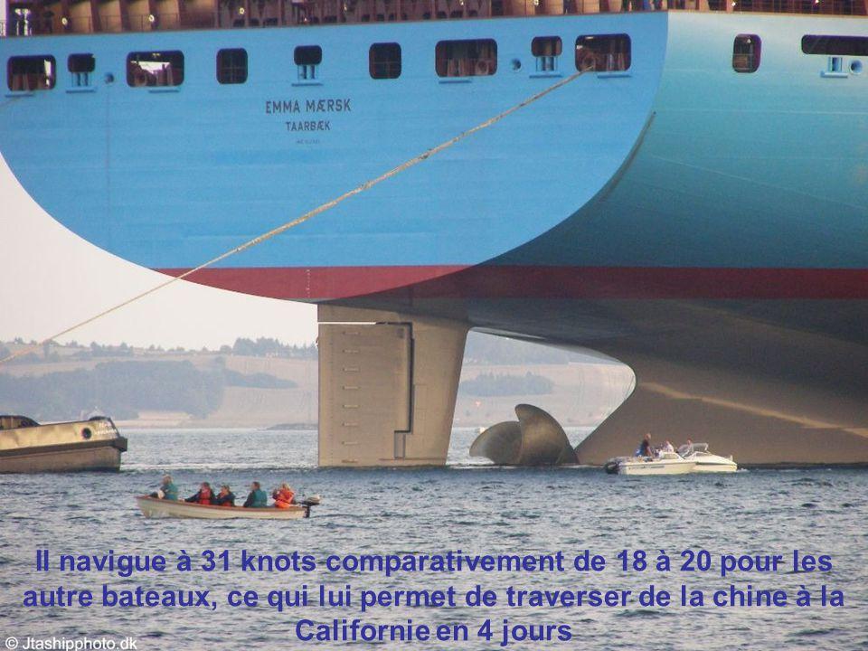 Il navigue à 31 knots comparativement de 18 à 20 pour les autre bateaux, ce qui lui permet de traverser de la chine à la Californie en 4 jours