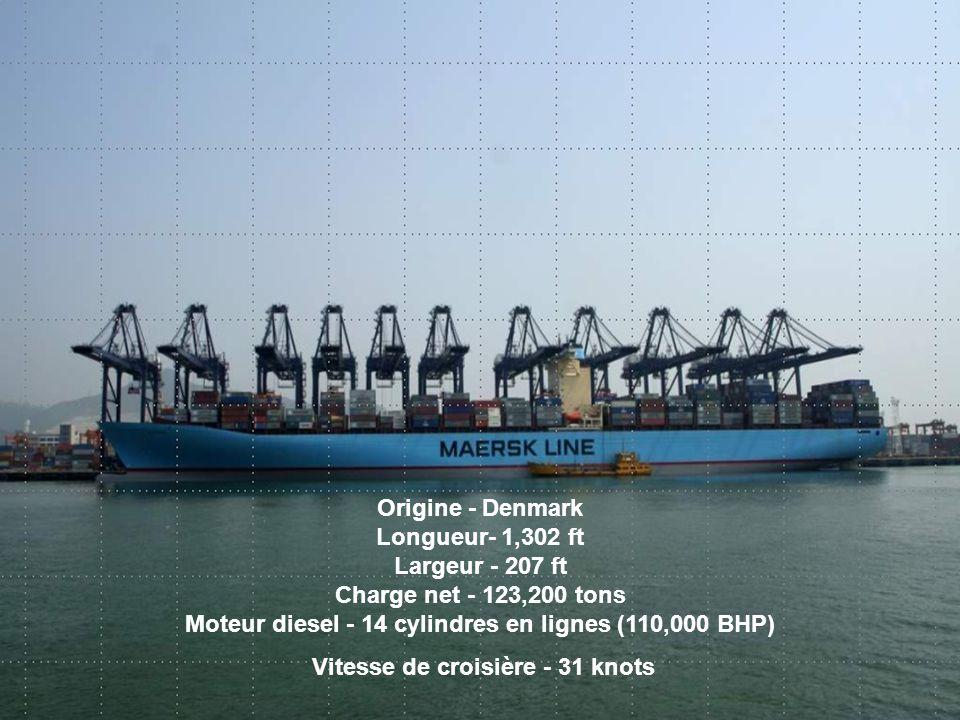 Origine - Denmark Longueur- 1,302 ft Largeur - 207 ft Charge net - 123,200 tons Moteur diesel - 14 cylindres en lignes (110,000 BHP) Vitesse de croisi