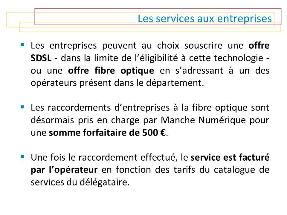 Les services aux entreprises  Les entreprises peuvent au choix souscrire une offre SDSL - dans la limite de l'éligibilité à cette technologie - ou un