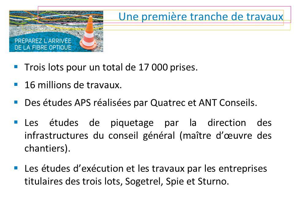 Une première tranche de travaux  Trois lots pour un total de 17 000 prises.  16 millions de travaux.  Des études APS réalisées par Quatrec et ANT C