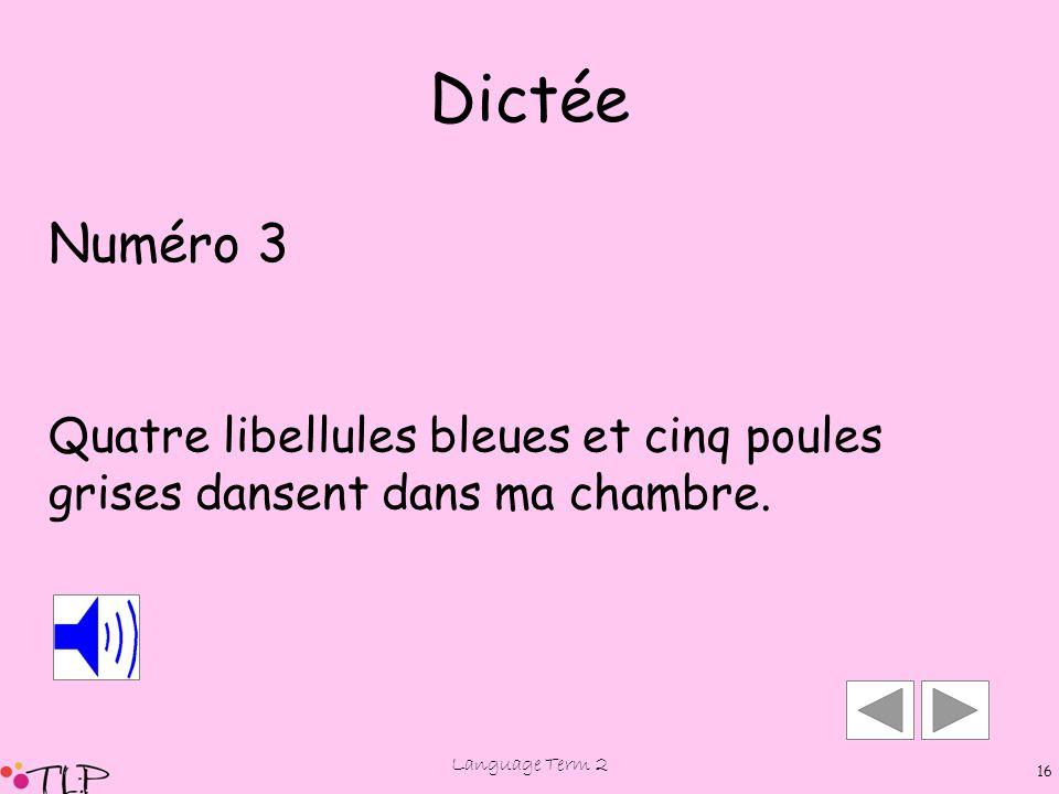Language Term 2 15 Dictée Numéro 3
