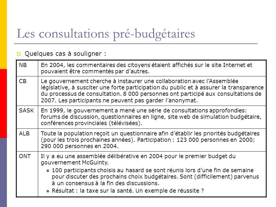 Les consultations pré-budgétaires  Quelques cas à souligner : NBEn 2004, les commentaires des citoyens étaient affichés sur le site Internet et pouvaient être commentés par d'autres.