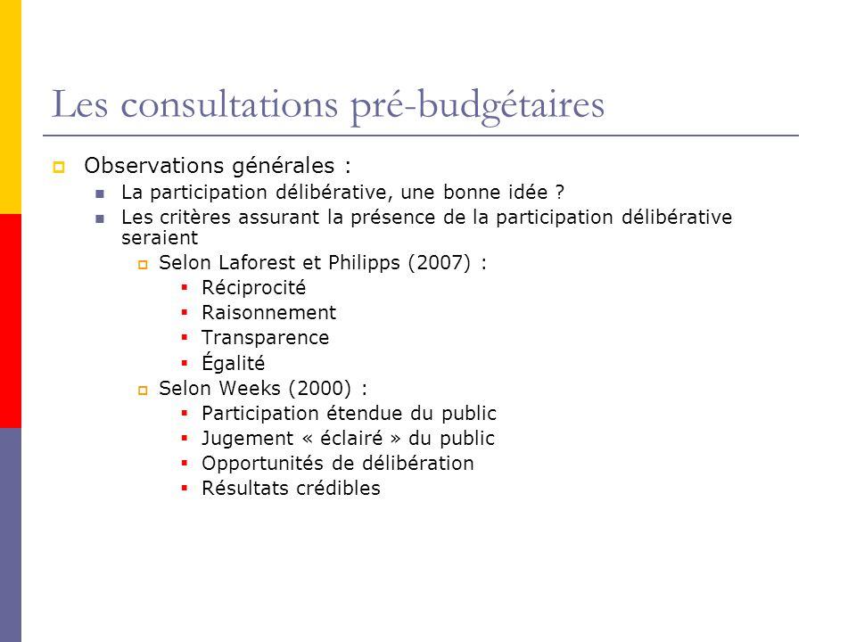 Les consultations pré-budgétaires  Observations générales : La participation délibérative, une bonne idée .