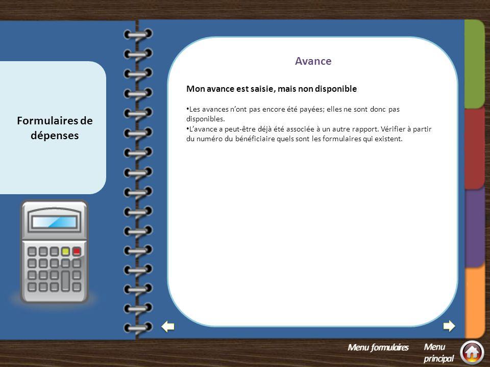 Formulaires de dépenses Foire aux questions sur les formulaires de dépenses 1.