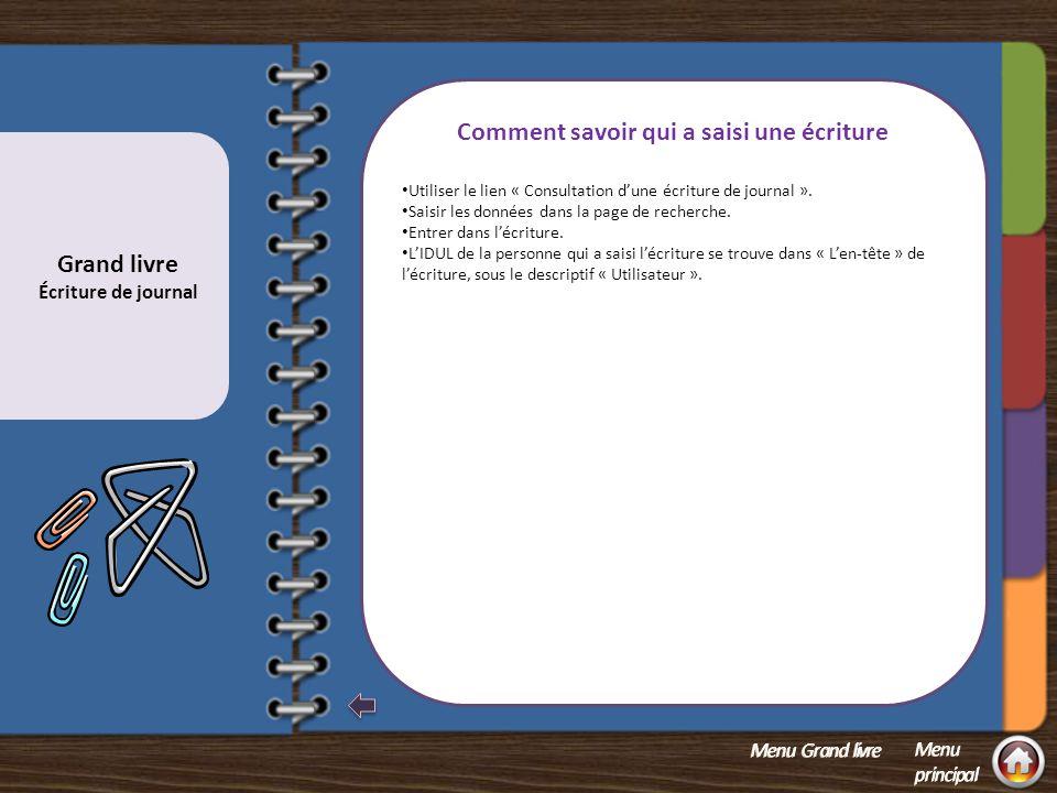 Correction d'une écriture reportée au Grand livre réel Copier l'écriture en signe inversé de façon à annuler l'effet de l'écriture initiale.
