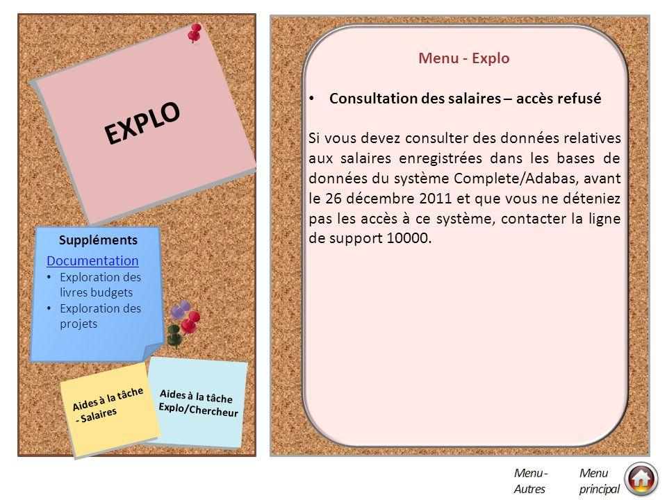 EXPLO ERREUR D'IMPRESSION GÉNÉRAL Menu - Autres Cliquer sur les notes pour ouvrir NAVIGATION PEOPLESOFT