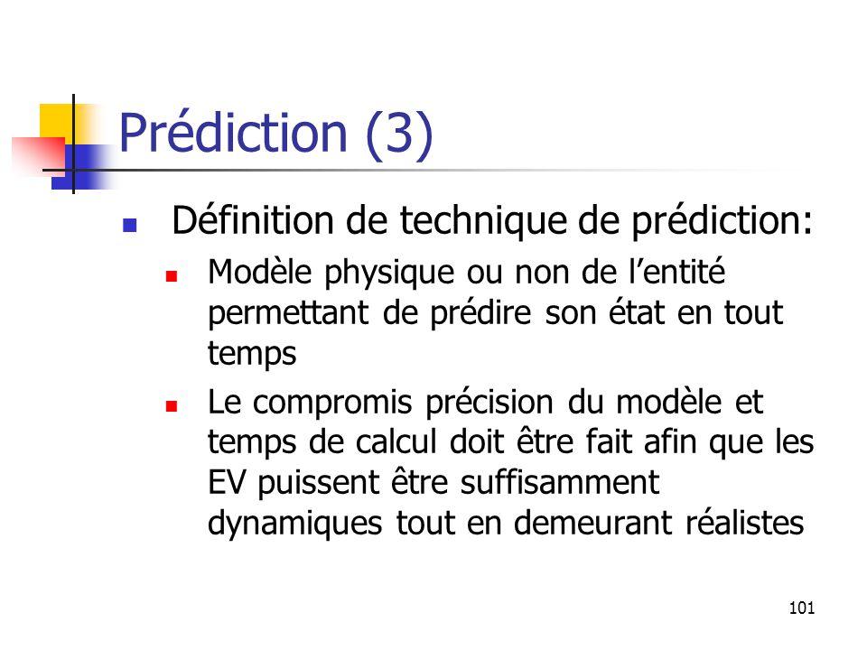 101 Prédiction (3) Définition de technique de prédiction: Modèle physique ou non de l'entité permettant de prédire son état en tout temps Le compromis précision du modèle et temps de calcul doit être fait afin que les EV puissent être suffisamment dynamiques tout en demeurant réalistes