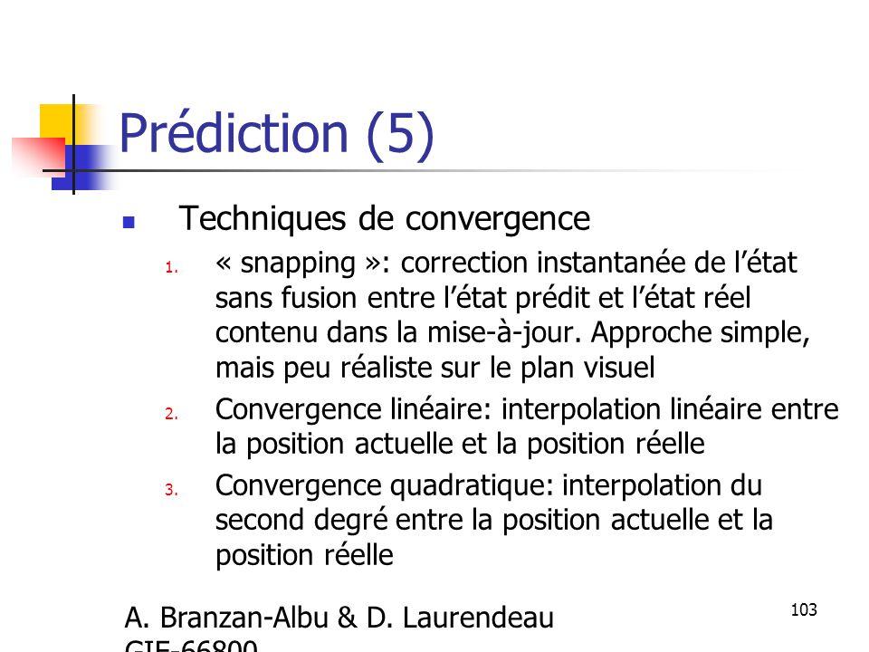 A.Branzan-Albu & D. Laurendeau GIF-66800 103 Prédiction (5) Techniques de convergence 1.