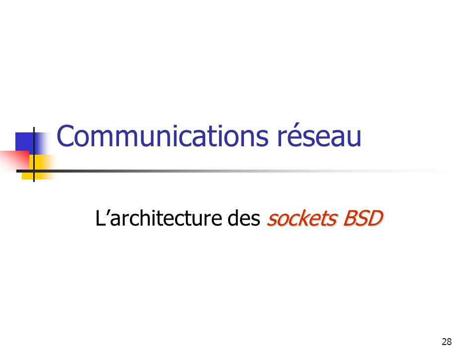 28 Communications réseau socketsBSD L'architecture des sockets BSD