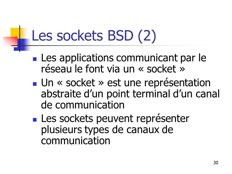 30 Les sockets BSD (2) Les applications communicant par le réseau le font via un « socket » Un « socket » est une représentation abstraite d'un point terminal d'un canal de communication Les sockets peuvent représenter plusieurs types de canaux de communication