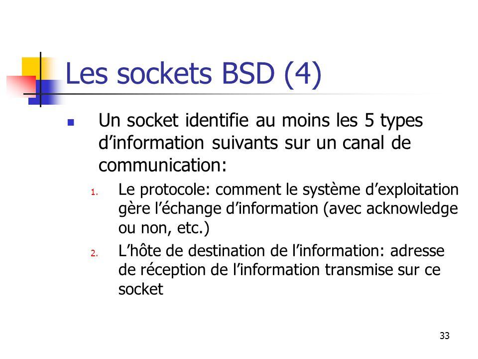 33 Les sockets BSD (4) Un socket identifie au moins les 5 types d'information suivants sur un canal de communication: 1.