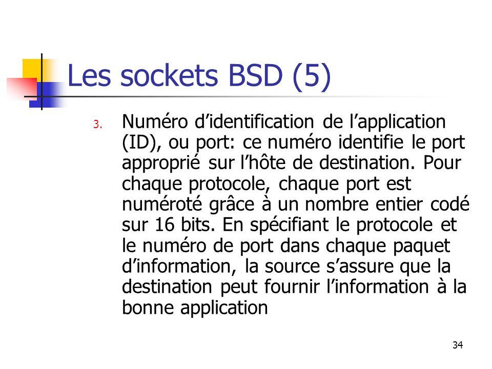 34 Les sockets BSD (5) 3.