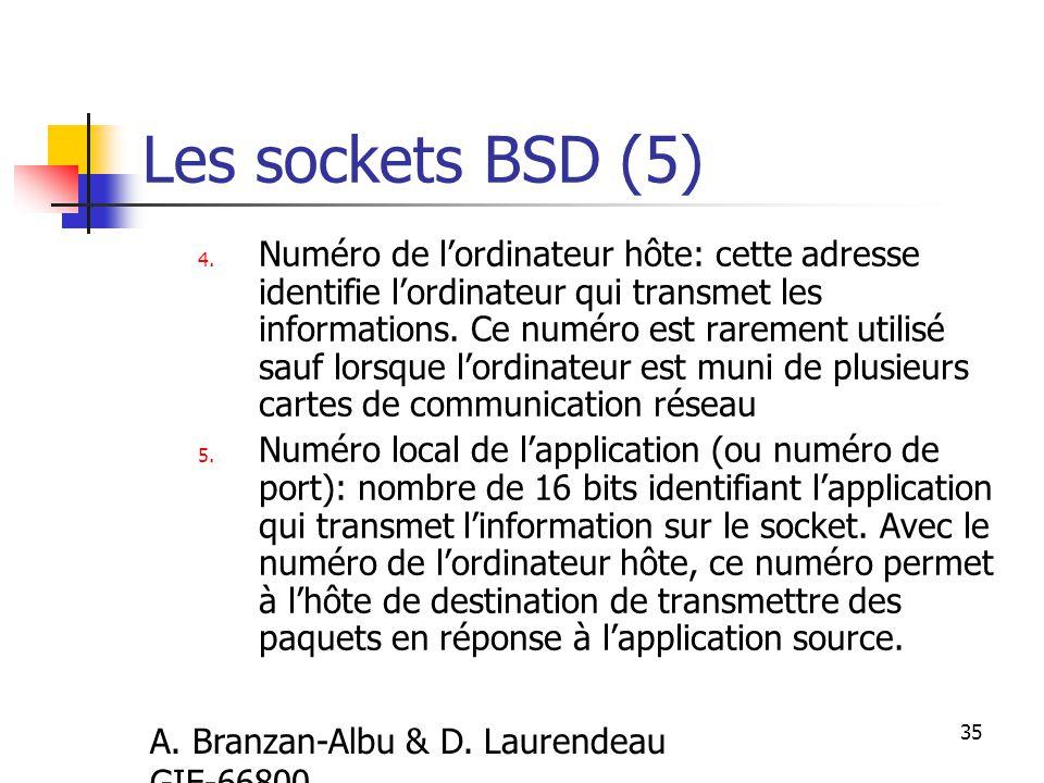 A. Branzan-Albu & D. Laurendeau GIF-66800 35 Les sockets BSD (5) 4.