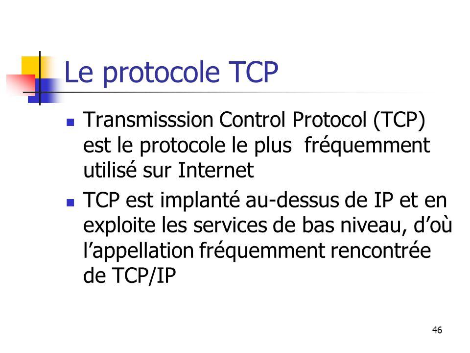 46 Le protocole TCP Transmisssion Control Protocol (TCP) est le protocole le plus fréquemment utilisé sur Internet TCP est implanté au-dessus de IP et en exploite les services de bas niveau, d'où l'appellation fréquemment rencontrée de TCP/IP