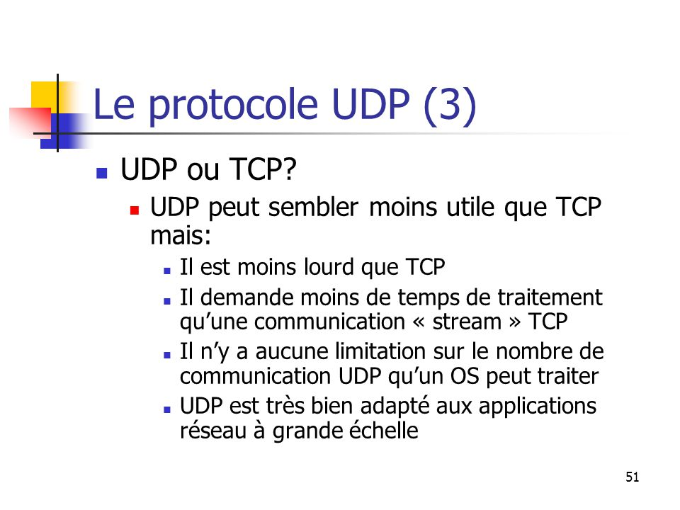 51 Le protocole UDP (3) UDP ou TCP.