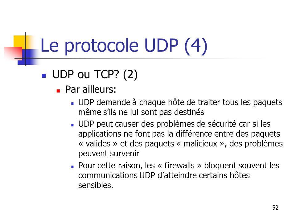 52 Le protocole UDP (4) UDP ou TCP.