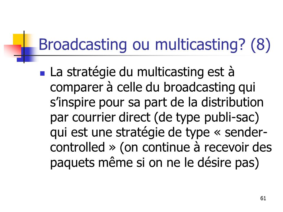 61 Broadcasting ou multicasting.
