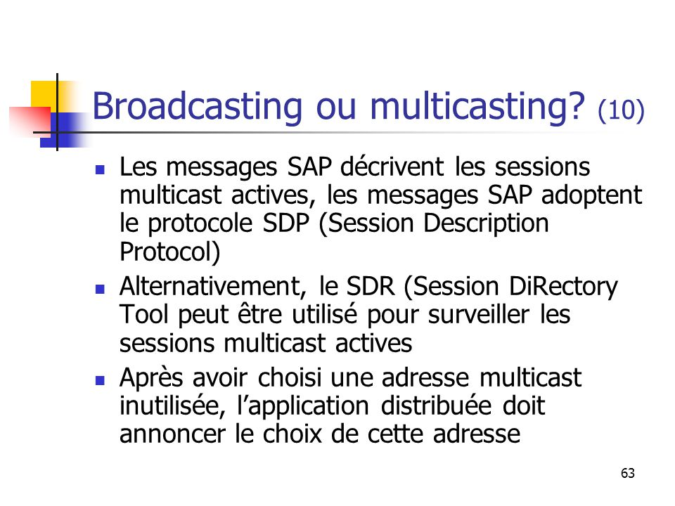 63 Broadcasting ou multicasting.