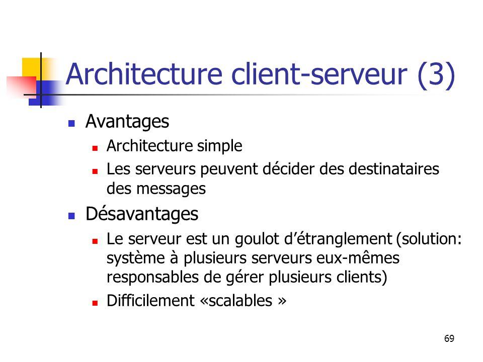 69 Architecture client-serveur (3) Avantages Architecture simple Les serveurs peuvent décider des destinataires des messages Désavantages Le serveur est un goulot d'étranglement (solution: système à plusieurs serveurs eux-mêmes responsables de gérer plusieurs clients) Difficilement «scalables »