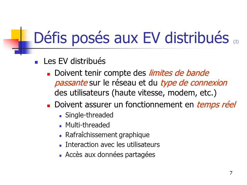 7 Défis posés aux EV distribués (3) Les EV distribués limites de bande passantetype de connexion Doivent tenir compte des limites de bande passante sur le réseau et du type de connexion des utilisateurs (haute vitesse, modem, etc.) temps réel Doivent assurer un fonctionnement en temps réel Single-threaded Multi-threaded Rafraîchissement graphique Interaction avec les utilisateurs Accès aux données partagées
